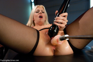 Small-titted blonde in stockings enjoys  - XXX Dessert - Picture 3