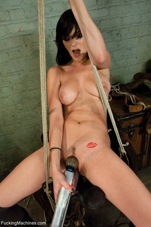 Brunette bitch getting high on a sling-s - XXX Dessert - Picture 2