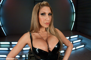 Busty blonde babe in latex corset adores - XXX Dessert - Picture 1