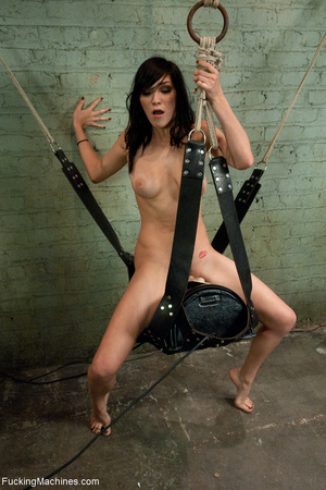 Brunette bitch getting high on a sling-s - XXX Dessert - Picture 8