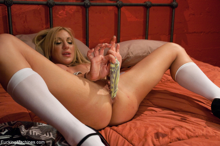Blonde chick in long socks squirting heavil - XXX Dessert - Picture 1
