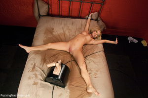 Blonde chick in long socks squirting hea - Picture 8