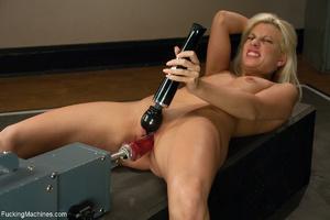 Blonde slut helps herself with a vibro w - XXX Dessert - Picture 3