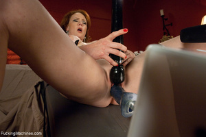 Red MILF gets all her holes plugged with - Picture 5