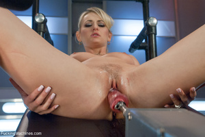Ponytailed blonde uses a big vibro to em - XXX Dessert - Picture 3