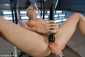 Ponytailed blonde uses a big vibro to em - XXX Dessert - Picture 6
