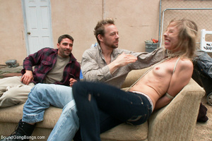 Blonde girl captured, bound and gangbang - Picture 3