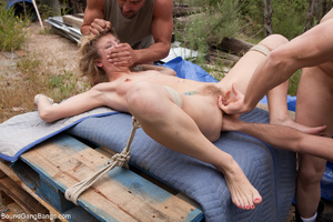 Blonde girl captured, bound and gangbang - Picture 5