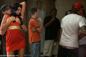 Small-titted brunette enchained with cuf - XXX Dessert - Picture 1
