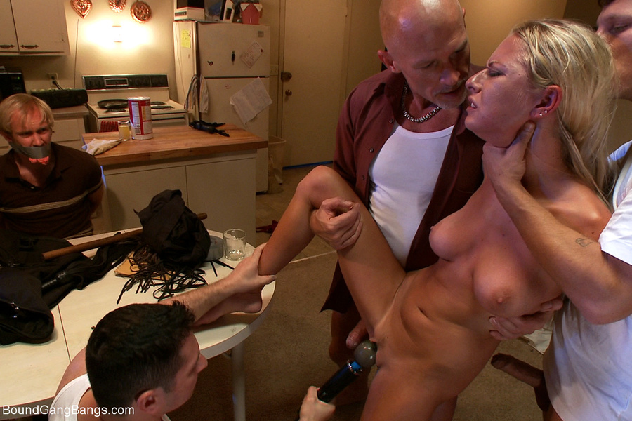 Busty blonde chick gangbanged in her kitche dessert picture