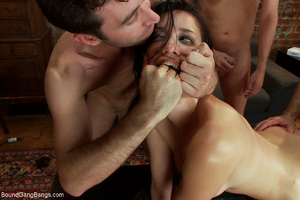 Brunette babe with hairy cunt roped and  - XXX Dessert - Picture 6