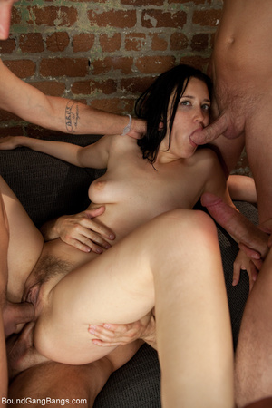 Brunette babe with hairy cunt roped and  - XXX Dessert - Picture 9