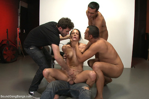 Ponytailed chick bound with belts group  - XXX Dessert - Picture 3