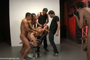 Ponytailed chick bound with belts group  - XXX Dessert - Picture 4
