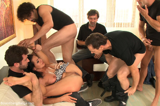 gag-balled roped brunette whore