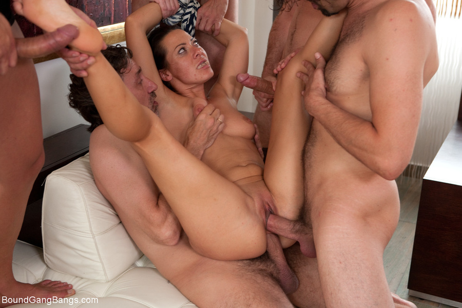 Brunette mature gangbanged in all holes