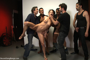 Ponytailed chick bound with belts group  - XXX Dessert - Picture 9