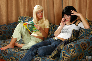 Blond and black hair girl give each othe - XXX Dessert - Picture 1