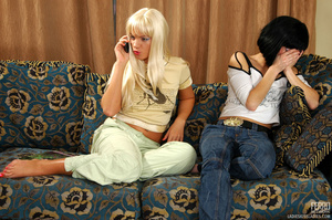 Blond and black hair girl give each othe - XXX Dessert - Picture 2