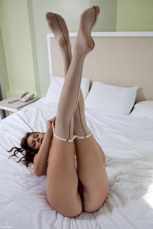 Busty brunette babe in stockings undress - XXX Dessert - Picture 8