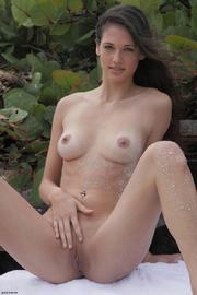 sexy brunette orange thong