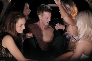 Four nasty girls falling on a guy in the - XXX Dessert - Picture 2