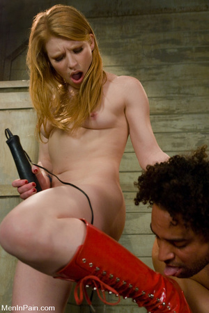 Horny blonde dress up in red and black e - XXX Dessert - Picture 14