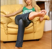 Curly blonde chick charms with her wide lickable soles