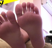 Sultry hot babe teases with her meaty rough soles and deliciously suckable