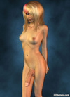 Completely nude blond 3D shemale with big cock