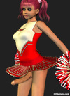 Sexy 3D cheerleader shemale dancing in dress