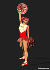 Sexy 3D cheerleader shemale dancing in dress