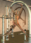 Naked blond 3D shemale ejaculates tied-up in a sexmachine