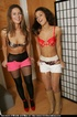 Double pleasure with a sexy dual-striptease out of tight skirts and girdles
