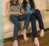 Contentedness with dazzling temptresses' soles and toes