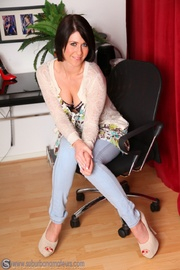 lovely brunette babe jeans
