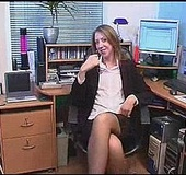 Slutty secretary in stockings drilling her cunt with a vibro in the office