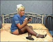 blonde bitch nurse's suit