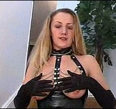 Dirty MILF in bdsm latex suit and stockings gets horny