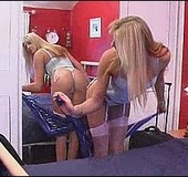 Blonde teen in white stockings rubbing her tiny twat