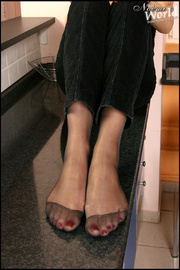 bare feet stockinged feet