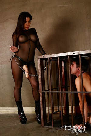 Guy in cage released to suck dildo and g - XXX Dessert - Picture 2