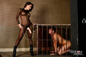 Guy in cage released to suck dildo and g - XXX Dessert - Picture 3