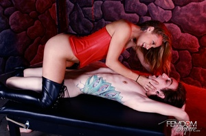 Cute girl in red subdues and fucks guy w - XXX Dessert - Picture 1