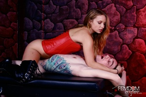 Cute girl in red subdues and fucks guy w - XXX Dessert - Picture 14