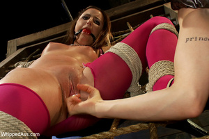 Cute girl gets tied, pegs on pussy, span - XXX Dessert - Picture 15