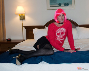 Hot and flashy cross dresser takes some  - XXX Dessert - Picture 2