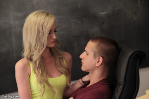 Cute blonde student gives mate a sweet h - XXX Dessert - Picture 1