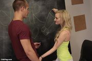 cute blonde student gives