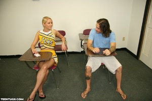 Blonde cheer leader uses her hands to je - XXX Dessert - Picture 1